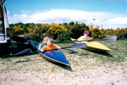 Sitting in my mum's canoe with my best friend when I was six :)